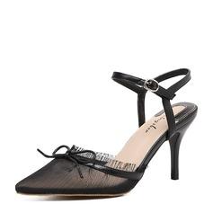 Frauen Spitze Stöckel Absatz Absatzschuhe Slingpumps mit Bowknot Schuhe