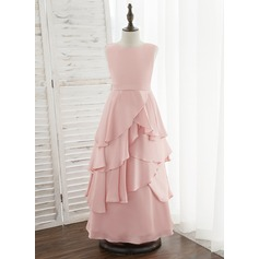 A-Line Floor-length Flower Girl Dress - Satin Chiffon Sleeveless Scoop Neck With Ruffles