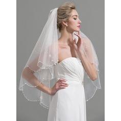 Dos capas Con abalorios Yema del dedo velos de novia con Cuentas/La perla de faux/Lentejuelas