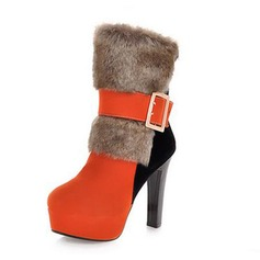 Suede Chunky Heel Platform Ankle Boots With Buckle Fur shoes