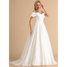 Ball-Gown/Princess Off-the-Shoulder Court Train Satin Wedding Dress (002215661)