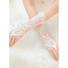 Lace Wrist Length Bridal Gloves (014168946)