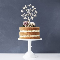 Personalized Bride And Groom/Flower Design Wooden Cake Topper
