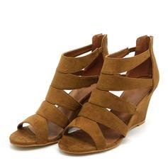 Kvinder Ruskind Kile Hæl sandaler Pumps Kiler Kigge Tå med Lynlås sko