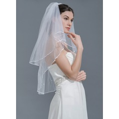 Two-tier Pencil Edge Fingertip Bridal Veils With Beading (006109849)