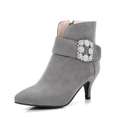 Vrouwen Suede Stiletto Heel Pumps Enkel Laarzen met Strass schoenen