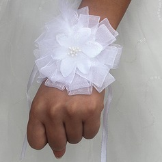 Round Satin Wrist Corsage (Sold in a single piece) -