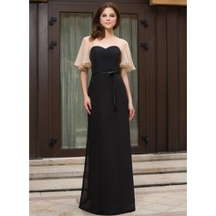 Sheath/Column Scoop Neck Floor-Length Chiffon Evening Dress With Cascading Ruffles