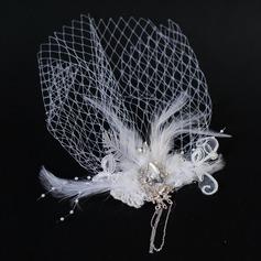 Élégante Feather/Tulle Chapeaux de type fascinator avec Strass