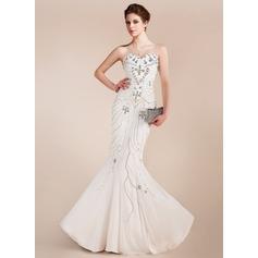 Trumpet/Mermaid Sweetheart Floor-Length Chiffon Prom Dress With Beading
