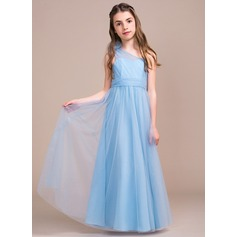A-Line/Princess One-Shoulder Floor-Length Tulle Junior Bridesmaid Dress With Ruffle Flower(s) Bow(s)