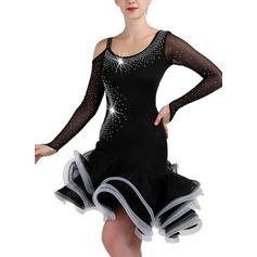 Mulheres Roupa de Dança Spandex do Organza de Dança Latina Dança Moderna Vestidos