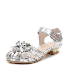 Flicka Peep Toe Microfiber läder låg klack Sandaler Flower Girl Shoes med Beading Bowknot Kardborre
