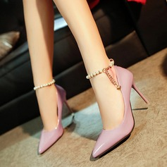 Women's PU Stiletto Heel Pumps Closed Toe With Imitation Pearl Chain shoes