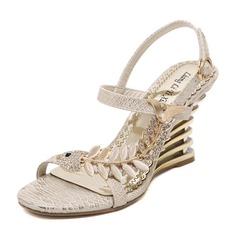 Frauen PU Keil Absatz Sandalen Keile mit Strass Schuhe