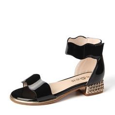 Girl's Patent Leather Flat Heel Peep Toe Sandals With Velcro