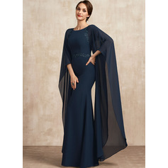 Sheath/Column Scoop Neck Floor-Length Chiffon Mother of the Bride Dress With Lace Sequins