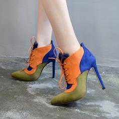 De mujer Ante Tacón stilettos Cerrados Botas Botas al tobillo con Cordones Material Block zapatos