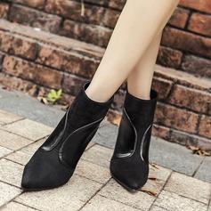 Frauen Veloursleder Stöckel Absatz Absatzschuhe Stiefelette mit Reißverschluss Schuhe