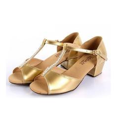 Детская обувь кожа На каблуках Сандалии Латино с Т-ремешок Обувь для танцев