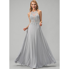 A-Line Scoop Neck Floor-Length Chiffon Prom Dresses With Lace Sequins (018220265)