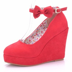 Women's Suede Spool Heel Pumps Wedges With Bowknot Crystal