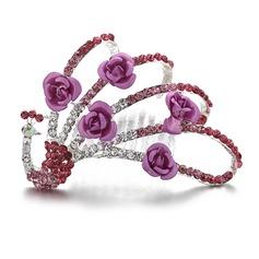 Pavão-Shaped Cristal/Liga Capacete da menina flor