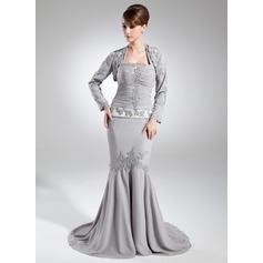 Trompete/Meerjungfrau-Linie Träger Hof-schleppe Chiffon Kleid für die Brautmutter mit Rüschen Perlen verziert Pailletten