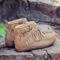 Femmes Suède Talon plat Bottes Bottines Bottes mi-mollets avec Tassel chaussures