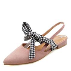 Femmes Suède Talon plat Sandales Bout fermé avec Bowknot chaussures