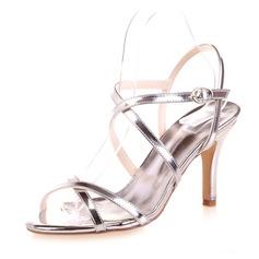 Kvinnor Lackskinn Stilettklack Peep Toe Sandaler med Spänne