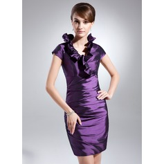 Forme Fourreau Col V Court/Mini Taffeta Robe de cocktail avec Robe à volants