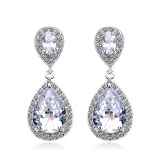 Exquisite Copper/Zircon/Platinum Plated Ladies' Earrings (011052567)