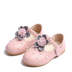 Flicka Stängt Toe Mary Jane konstläder platt Heel Platta Skor / Fritidsskor Flower Girl Shoes med Oäkta Pearl Kardborre Blomma