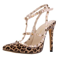 Women's Patent Leather Stiletto Heel Pumps Closed Toe With Rivet shoes (085113484)