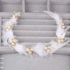 Señoras Asombroso Aleación/Pluma Diademas con Perla Veneciano (Se venden en una sola pieza)