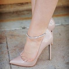 Donna Pelle verniciata Tacco a spillo Sandalo Stiletto Punta chiusa con Strass Fibbia scarpe