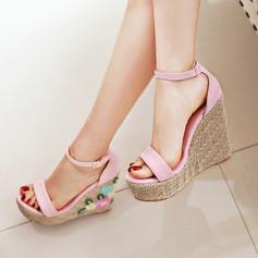 Vrouwen Suede Wedge Heel Pumps Wedges met Gesp schoenen