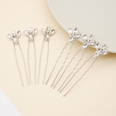 Ladies Stylish Alloy Hairpins With Rhinestone (Set of 6)