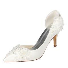 Women's Silk Like Satin Stiletto Heel Pumps With Sequin Pearl