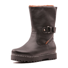 Women's Leatherette Flat Heel Boots Snow Boots With Buckle shoes
