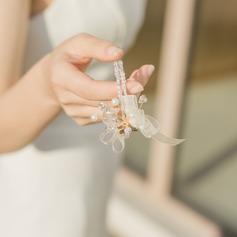 Bruidsmeisje Gifts - Sierlijke Legering Zijde Imitatie Parel Pols Corsage (256206241)