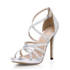 Frauen Funkelnde Glitzer Stöckel Absatz Sandalen Peep Toe Schuhe (087072640)