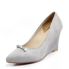 Frauen Veloursleder Keil Absatz Absatzschuhe Geschlossene Zehe Keile mit Strass Schuhe