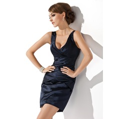 Sheath/Column V-neck Short/Mini Charmeuse Cocktail Dress With Ruffle