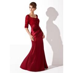 Trompete/Meerjungfrau-Linie U-Ausschnitt Bodenlang Charmeuse Spitze Kleid für die Brautmutter mit Rüschen Perlen verziert