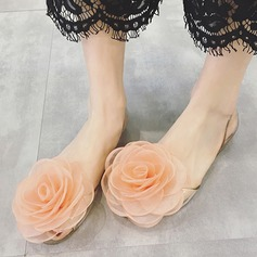 Women's Plastics Flat Heel Closed Toe Pumps Beach Wedding Shoes With Rhinestone Satin Flower