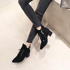 Naisten Mokkanahka Chunky heel Avokkaat Kengät Nilkkurit jossa Vetoketju Nauhakenkä kengät
