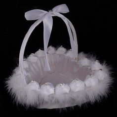Lovely Flower Basket in Cloth With Rhinestones/Feather