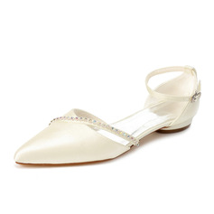 Women's Satin Low Heel Closed Toe Flats With Rhinestone